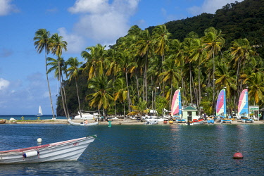 CA33BJN0033 Boats and palm trees along the beach at Marigot Bay, St. Lucia, West Indies