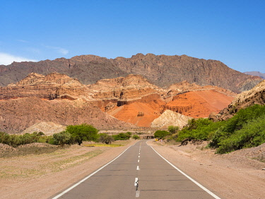SA01MZW0055 Routa 68. Quebrada de las Conchas also called Quebrada de Cafayate. A canyon with colorful rock formations created by Rio de las Conchas. South America, Argentina