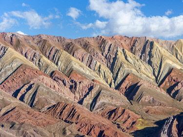 SA01MZW0393 Iconic rock formation Serrania de Hornocal in the Quebrada de Humahuaca canyon, a UNESCO World Heritage Site. South America, Argentina