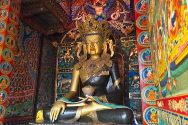AS07KSU2139 Buddhist statue in Litang Monastery (Changchunkeersi), Litang, western Sichuan, China