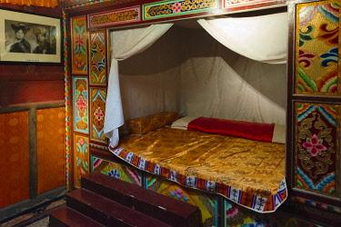 AS07KSU2191 Interior of a bedroom, Zhuokeji Headman's Village, Ngawa Tibetan and Qiang Autonomous Prefecture, western Sichuan, China