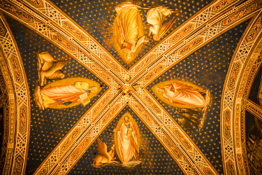 ITA13968 Italy, Florence.  Frescoes on the ceiling of the Sacristy of San Miniato al Monte, depicting episodes from the life of Saint Benedict, by Spinello Aretino