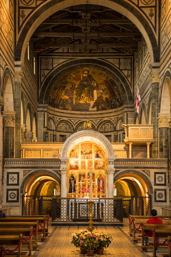 ITA13975 Italy, Florence.  The nave of the basilica of San Miniato al Monte with the domed Cappella del Crocefisso