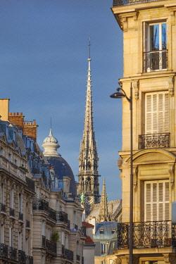 FRA11495AWRF France, Paris, Notre Dame Cathedral, spire above rooftops