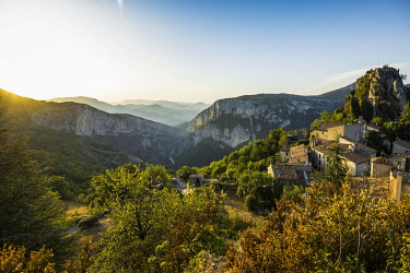 IBXDJS04866302 Mountain village Rougon in the evening light, Verdon gorge, Gorges du Verdon, Alpes-de-Haute-Provence department, Provence-Alpes-Cote d'Azur region, France, Europe