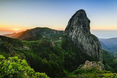 IBXJOR04862878 Roque de Agando rock tower at sunrise, Monumento Natural de los Roques, La Gomera, Canary Islands, Spain, Europe