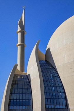IBXJTE04872613 Mosque, DITIB Central Mosque, detail, minaret, Cologne, Rhineland, North Rhine-Westphalia, Germany, Europe