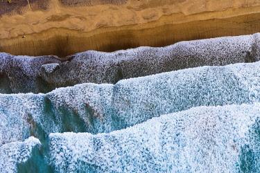 IBXMAN04862800 Waves running out at sandy beach, Playa Famara near Caleta de Famara, drone shot, Lanzarote, Canary Islands, Spain, Europe
