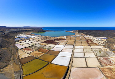 IBXMAN04870049 Salt extraction plant, Salinas de Janubio, near Yaiza, drone shot, Lanzarote, Canary Islands, Spain, Europe