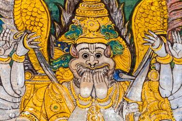 IBXMMW03923422 Mural, Hindu deity, Srirangam temple complex, Tiruchirappalli, Tamil Nadu, India, Asia