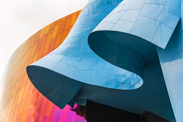 IBXMMW04867249 Curved colored facade of the Museum of Pop Culture, MoPOP, detail, architect Frank Gehry, Seattle, Washington, USA, North America