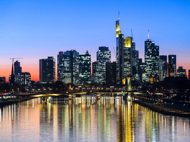 Deutschherrenbrücke with skyline at sunset, Frankfurt am Main, Hesse, Germany, Europe