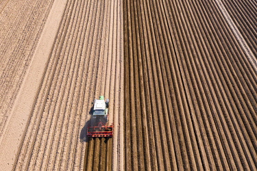 IBXMOX04869829 Asparagus field, Tractor working the soil, Bergstrasse, Hesse, Germany, Europe