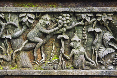 IBXOSR03959238 Relief with macaques at Monkey Forest temple, Pura Dalem Agung Padangtegal temple in the Ubud Monkey Forest, Ubud, Bali, Indonesia, Asia