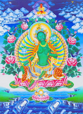 IBLBDN03913891 The green Tara, the maternal protector from all dangers in the ocean of existence, Nepal, Asia