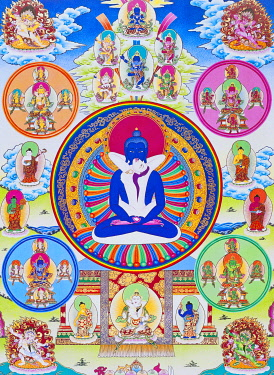 IBLBDN03913915 Samantabhadra, together with his consort, symbolising unity with the absolute, Nepal, Asia