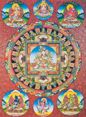 IBLBDN03914037 White Tara Mandala, the seven eyed female deity of the Buddhist Pantheon representing the goddess of compassion and the protector of human beings, from Nepal