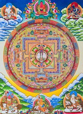 IBLBDN03914038 Mandala with one thousand arms, Avalokiteshvara, the sacred, magical circle depicting the eleven headed Bodhisattva symbolising infinite compassion, from Nepal
