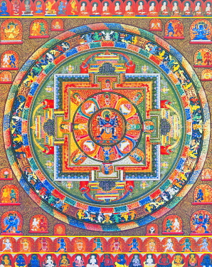 IBLBDN03914041 Chakrasambhara Mandala, depicting the main deity Sambhara embracing his consort Vajrabarahi symbolising the union of wisdom and practice to attain supreme bliss, Nepal, Asia