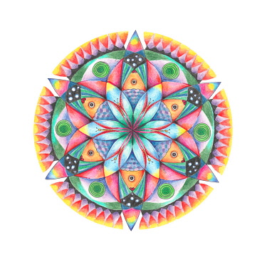 IBLCVA04858725 Colorful mandala fish, clipping, white background, germany-