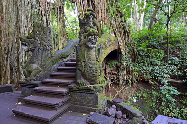 IBLISB03968758 Stairs over the canyon at the Holy Spring Temple, Ubud Monkey Forest, Ubud, Bali, Indonesia, Asia