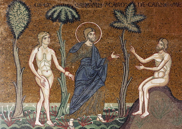 IBLKAS03908827 God introducing Eve to Adam in Paradise, Byzantine gold ground mosaics, Cathedral of Santa Maria Nuova, Monreale Cathedral, Monreale, Province of Palermo, Sicily, Italy, Europe