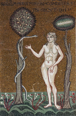 IBLKAS03908831 Eve in Paradise, being seduced by the serpent, Byzantine gold ground mosaics, Cathedral of Santa Maria Nuova, Monreale Cathedral, Monreale, Province of Palermo, Sicily, Italy