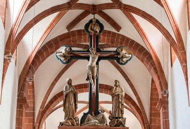 IBLMHM04866700 Romanesque Basilica Holy Cross, Triumphal Cross with Crucifixion Group, Benedictine Monastery Wechselburg, Saxony, Germany, Europe