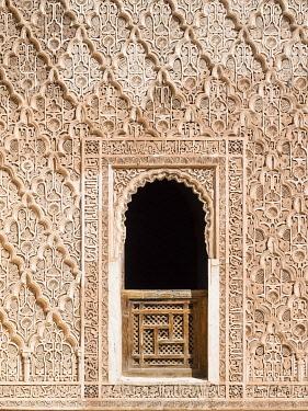 IBLMOX03974434 Ornate wall reliefs in the Ben Youssef Madrasa, Medina, Marrakech, Marrakech-Tensift-Al Haouz, Morocco, Africa