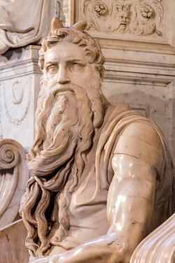 IBLMRA03923674 Moses, marble statue by Michelangelo, tomb of Pope Julius II, San Pietro in Vincoli, Rome, Lazio, Italy, Europe