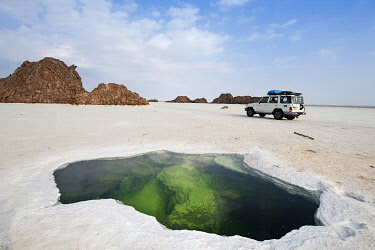 IBLNEX04866914 Jeep tour over Lake Karum, source under salt crust in the salt lake, Danakil desert, Ethiopia, Africa