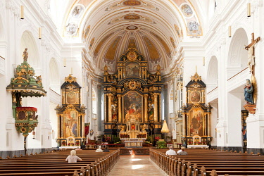 IBLPSF03973997 Interior, neo-baroque Basilica of St. Anna in the pilgrimage town Altotting, Upper Bavaria, Bavaria, Germany, Europe