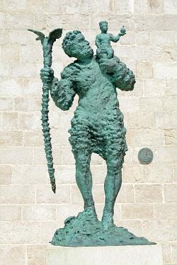 IBLSHG03978056 Statue of Sveti Kristofor, Saint Christophorus, courtyard of St. Mary's Cathedral, Rab Town, Rab, Primorje-Gorski Kotar County, Croatia, Europe