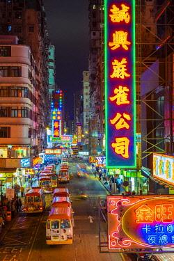 CH11985AW Neon lights on Tung Choi Street in Mong Kok at night, Kowloon, Hong Kong, China