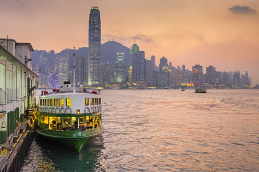 CH12001AW Star Ferry Pier and Hong Kong skyline at dusk, Tsim Sha Tsui, Kowloon, Hong Kong, China