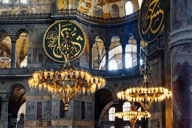 TUR1092AW Interior of Aya Sofia (Hagia Sophia) Mosque, Sultanhamet, Istanbul, Turkey