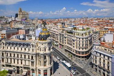 ES01203 Elevated View of Metropolis Building, Grand Via and Madrid, Madrid, Spain