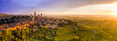 IT08136 Italy, Tuscany, Val d'Elsa. Panoramic aerial view of the medieval village of San Gimignano, a Unesco World Heritage Site