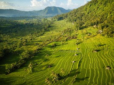IDA0966AW Aerial View of Landscape near Sidemen, Bali, Indonesia
