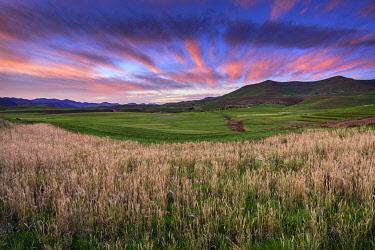 LES1203AW Lesotho, Maseru District, Lesotho, sunrise near Semonkong,
