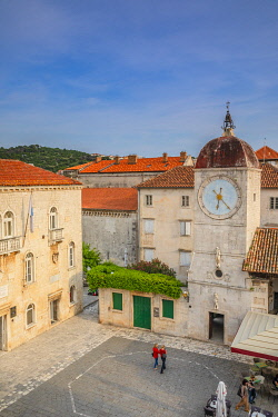 CR110RF Loggia and Clock Tower, Trogir, Dalmatian Coast, Croatia, Europe