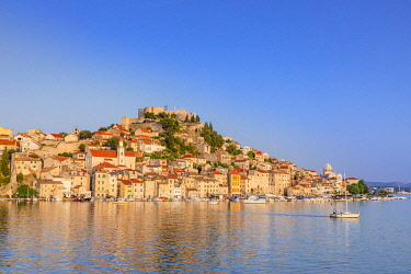 CR120RF St. Michael's Fortress and Sibenik Harbour, Sibenik, Dalmatian Coast, Croatia, Europe