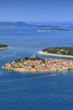 CR07311 An Elevated View of Primosten, Croatia, Dalmatian Coast, Europe