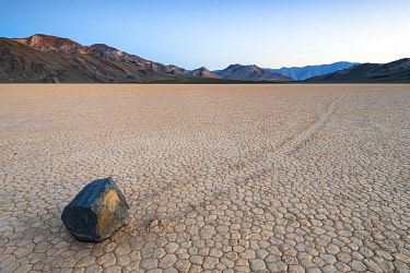 USA14538AW Moving boulders at Racetrack playa, Death Valley National park, California, USA