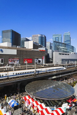 TPX69934 Japan, Honshu, Tokyo, Yurakucho, Skyline and Shinkansen Bullet Train