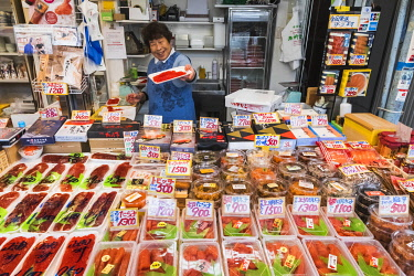 TPX70040 Japan, Honshu, Tokyo, Tsukiji Market, Dried Seafood Shop Display