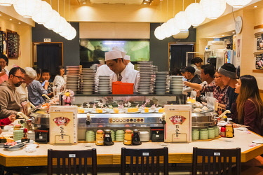 TPX70046 Japan, Honshu, Tokyo, Tsukiji Market, Interior View of Moving Sushi Restaurant