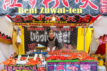 TPX70165 Japan, Honshu, Tokyo, Ueno, Ueno Park, Shinobazu Pond, Bentendo Temple, Street Food Vendor's Stall