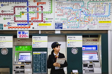 TPX70265 Japan, Honshu, Tokyo, Subway Station, System Maps and Self Service Ticket Vending Machines