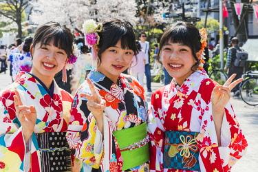 TPX70303 Japan, Honshu, Tokyo, Asakusa, Young Women in Kimono and Cherry Blossom